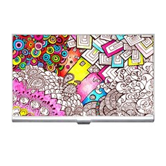 Beautiful Colorful Doodle Business Card Holders by Nexatart
