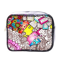Beautiful Colorful Doodle Mini Toiletries Bags by Nexatart