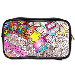Beautiful Colorful Doodle Toiletries Bags by Nexatart
