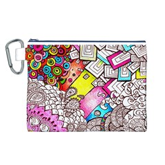 Beautiful Colorful Doodle Canvas Cosmetic Bag (l) by Nexatart