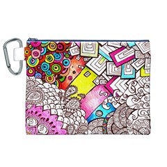 Beautiful Colorful Doodle Canvas Cosmetic Bag (xl) by Nexatart
