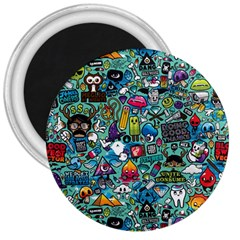 Colorful Drawings Pattern 3  Magnets by Nexatart