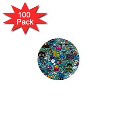 Colorful Drawings Pattern 1  Mini Magnets (100 Pack)  by Nexatart