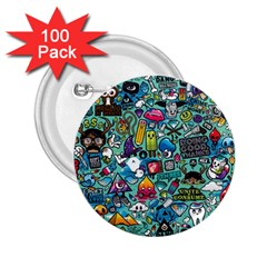 Colorful Drawings Pattern 2.25  Buttons (100 pack)