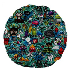 Colorful Drawings Pattern Large 18  Premium Round Cushions by Nexatart