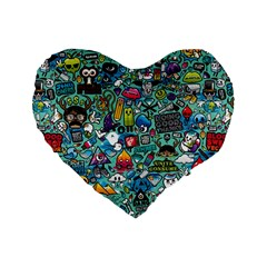 Colorful Drawings Pattern Standard 16  Premium Flano Heart Shape Cushions by Nexatart