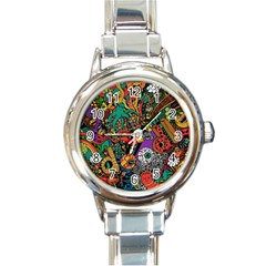 Monsters Colorful Doodle Round Italian Charm Watch by Nexatart