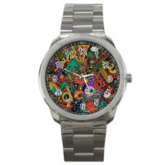 Monsters Colorful Doodle Sport Metal Watch by Nexatart