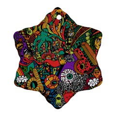 Monsters Colorful Doodle Snowflake Ornament (two Sides) by Nexatart