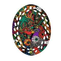 Monsters Colorful Doodle Ornament (oval Filigree) by Nexatart