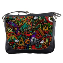 Monsters Colorful Doodle Messenger Bags by Nexatart