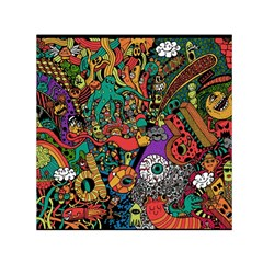Monsters Colorful Doodle Small Satin Scarf (square) by Nexatart