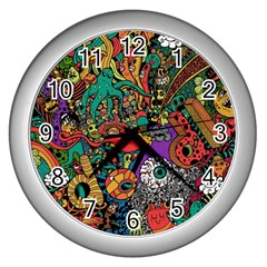 Monsters Colorful Doodle Wall Clocks (silver)  by Nexatart