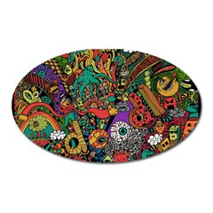 Monsters Colorful Doodle Oval Magnet by Nexatart