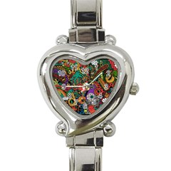 Monsters Colorful Doodle Heart Italian Charm Watch by Nexatart