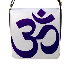 Hindu Om Symbol (purple) Flap Messenger Bag (l)  by abbeyz71