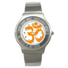Hindu Om Symbol (orange) Stainless Steel Watch by abbeyz71