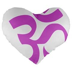 Hindu Om Symbol (bright Purple) Large 19  Premium Heart Shape Cushions by abbeyz71