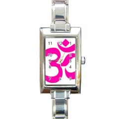 Hindu Om Symbol (pink) Rectangle Italian Charm Watch by abbeyz71
