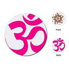 Hindu Om Symbol (deep Pink) Playing Cards (round)  by abbeyz71