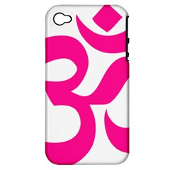 Hindu Om Symbol (deep Pink) Apple Iphone 4/4s Hardshell Case (pc+silicone) by abbeyz71