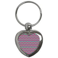 Retro Pattern Zig Zag Key Chains (heart)  by Nexatart