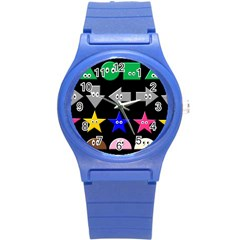 Cute Symbol Round Plastic Sport Watch (s) by Nexatart