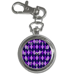 Static Argyle Pattern Blue Purple Key Chain Watches