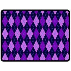 Static Argyle Pattern Blue Purple Double Sided Fleece Blanket (large)  by Nexatart
