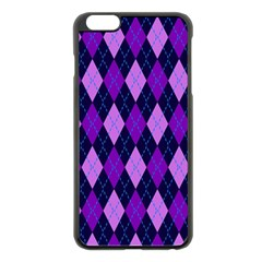 Static Argyle Pattern Blue Purple Apple Iphone 6 Plus/6s Plus Black Enamel Case by Nexatart