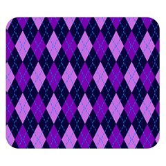 Static Argyle Pattern Blue Purple Double Sided Flano Blanket (small)