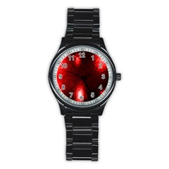 Box Lights Red Plaid Stainless Steel Round Watch by Mariart