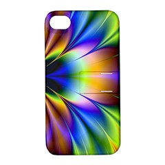 Bright Flower Fractal Star Floral Rainbow Apple Iphone 4/4s Hardshell Case With Stand by Mariart