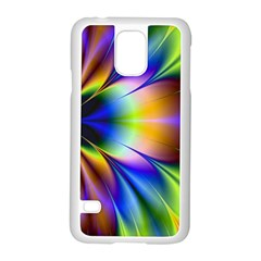 Bright Flower Fractal Star Floral Rainbow Samsung Galaxy S5 Case (white) by Mariart