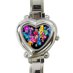Abstract Patterns Lines Colors Flowers Floral Butterfly Heart Italian Charm Watch by Mariart