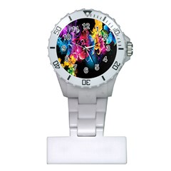 Abstract Patterns Lines Colors Flowers Floral Butterfly Plastic Nurses Watch by Mariart