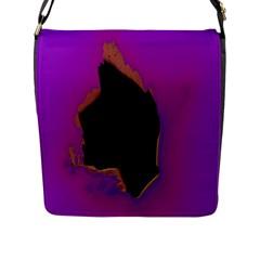 Buffalo Fractal Black Purple Space Flap Messenger Bag (l)  by Mariart