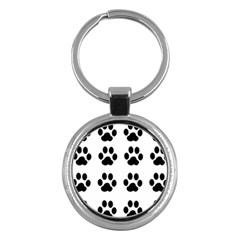 Claw Black Foot Chat Paw Animals Key Chains (round)  by Mariart