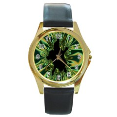 Burning Ship Fractal Silver Green Hole Black Round Gold Metal Watch by Mariart