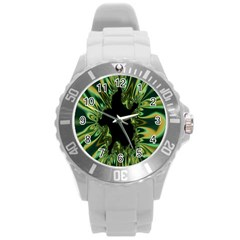Burning Ship Fractal Silver Green Hole Black Round Plastic Sport Watch (l) by Mariart