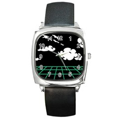 Illustration Cloud Line White Green Black Spot Polka Square Metal Watch by Mariart