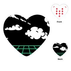 Illustration Cloud Line White Green Black Spot Polka Playing Cards (heart)  by Mariart