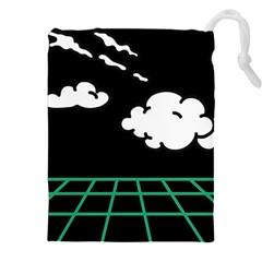 Illustration Cloud Line White Green Black Spot Polka Drawstring Pouches (xxl) by Mariart
