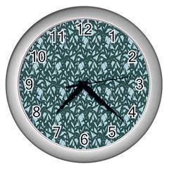 Interstellar Blog Tree Leaf Grey Wall Clocks (silver)  by Mariart