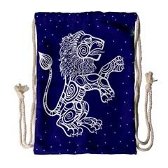 Leo Zodiac Star Drawstring Bag (large) by Mariart