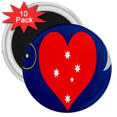 Love Heart Star Circle Polka Moon Red Blue White 3  Magnets (10 Pack)  by Mariart