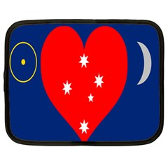 Love Heart Star Circle Polka Moon Red Blue White Netbook Case (large) by Mariart