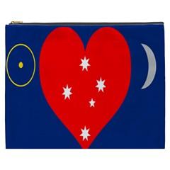 Love Heart Star Circle Polka Moon Red Blue White Cosmetic Bag (xxxl)  by Mariart