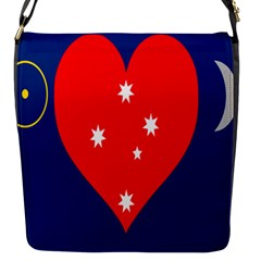Love Heart Star Circle Polka Moon Red Blue White Flap Messenger Bag (s) by Mariart