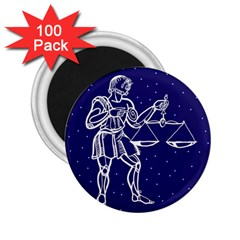 Libra Zodiac Star 2 25  Magnets (100 Pack)  by Mariart